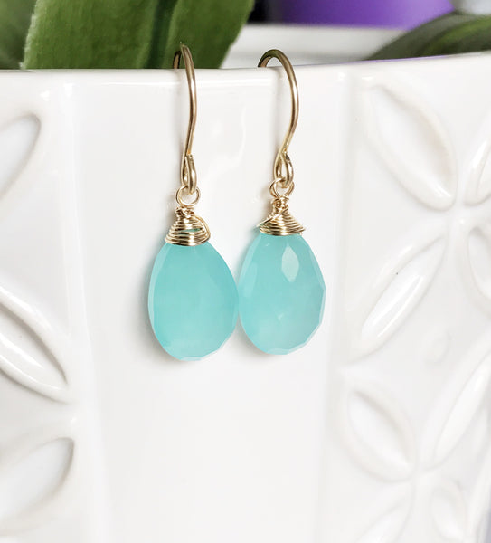 Earrings Nalani - aqua chalcedony ( E206)