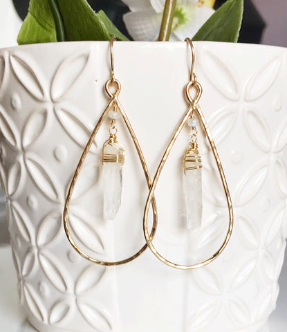 Earrings Amira - Crystal quartz  (E405)