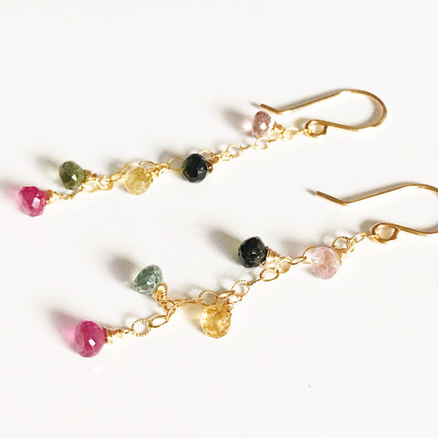 Earrings IZZY - multicolor Tourmaline (E411)