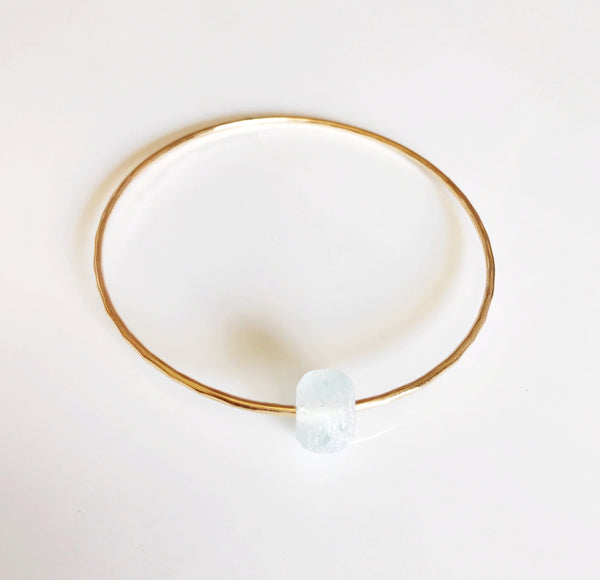 Bangle HINA- sea foam beach glass (B329)