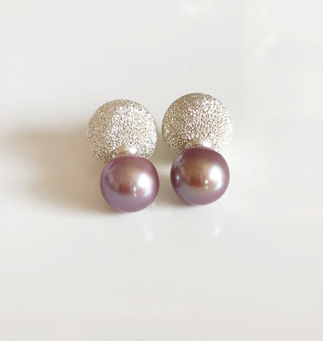 Earrings ZOLA - lavender pearls (E422)
