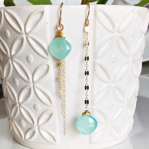 Earrings SHAYE - aqua chalcedony (E424)