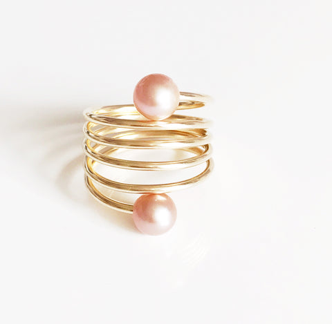 Ring CAMILA - pink pearls (R160)