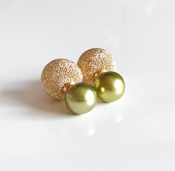 Earrings ZOLA - pistachio tahitian pearls (E432)