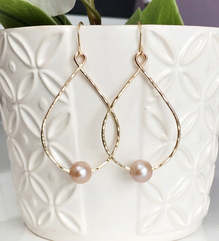 Earrings Molly- pink pearls (E352)