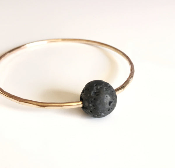 Lava bead bangle (B344)