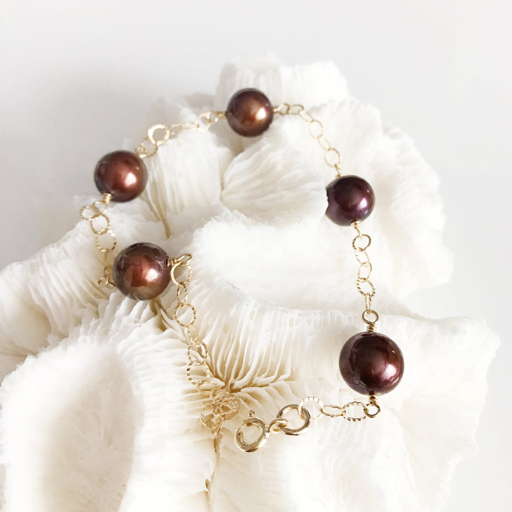 Bracelet LEILANI - chocolate pearls (B307)