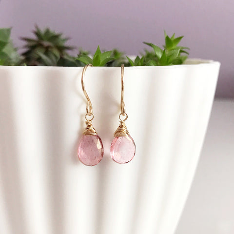 Earrings NALANI - pink quartz (E440)