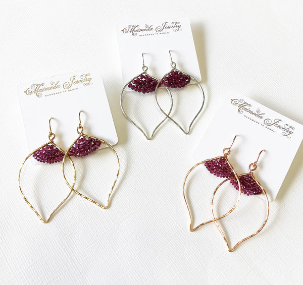 Earrings Wren- garnet (E354)