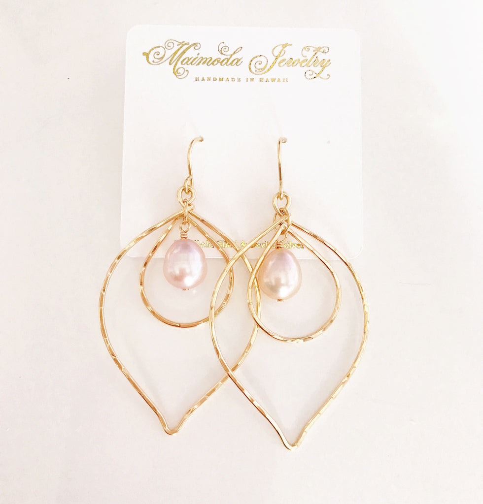 Earrings Kina - pink pearls (E338)