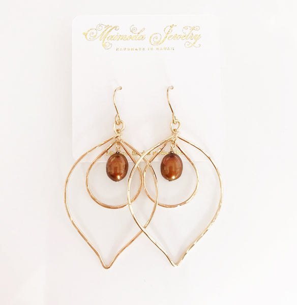 Earrings Kina- chocolate pearls ( E339)