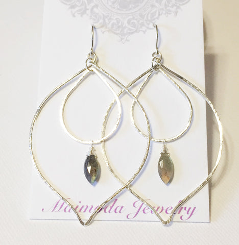Labradorite peacock hoop earrings (E516)