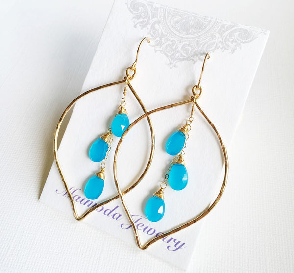 Earrings Yuri - aqua chalcedony (E266)