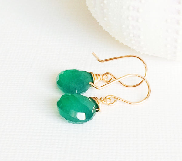Earrings Kala - green onyx (E181)