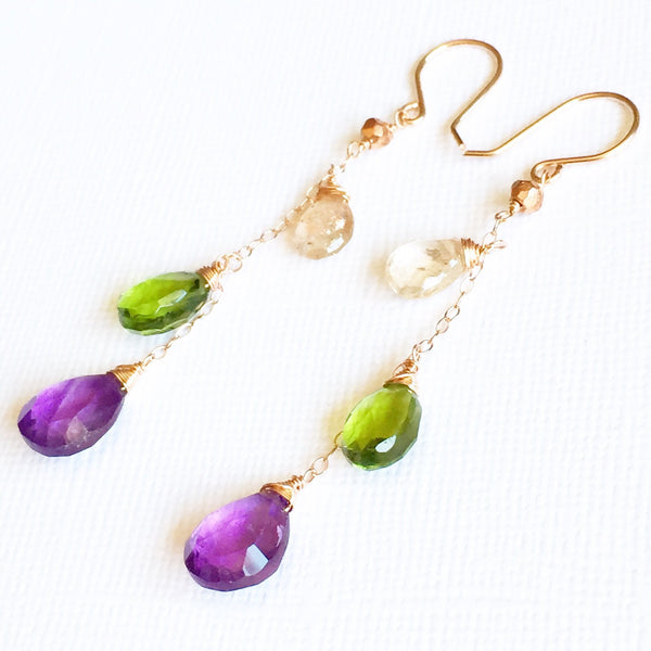 Earring Adele - mix gemstones  (E113)