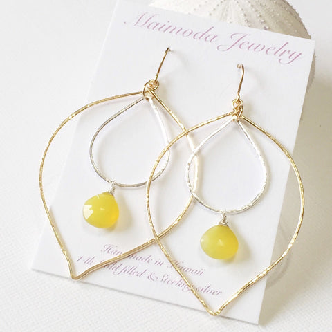 Earrings Yoshiko - Yellow chalcedony   (E205)