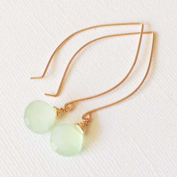 Earrings Kalena - mint chalcedony (E200)