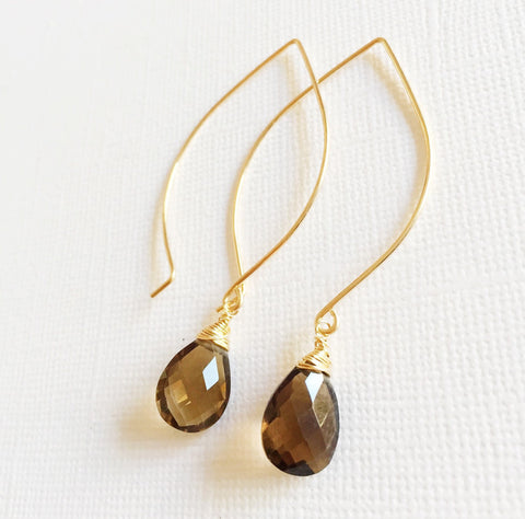 Earrings Kalena - smoky quartz  (E226)