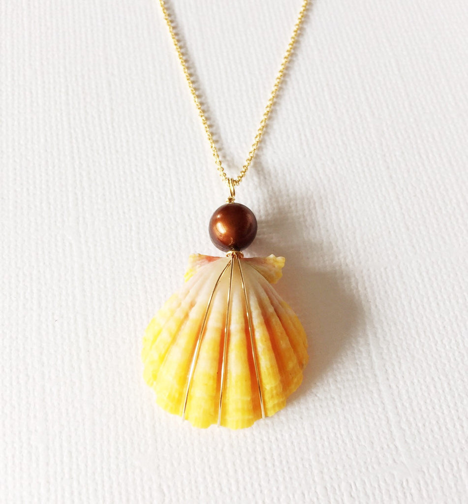 Necklace Iola - chocolate pearl  (N178)