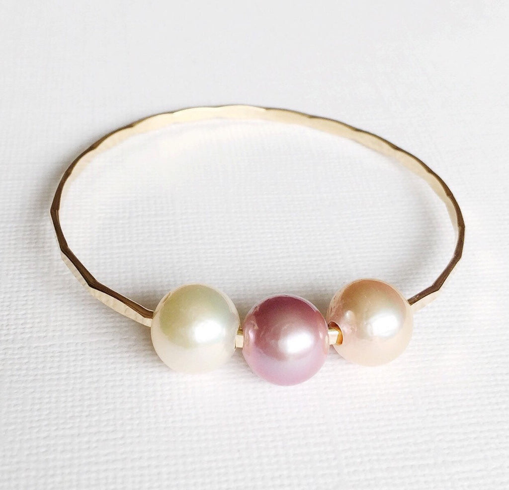 Triple Edison pearls bangle - pearls bangle - pearls bracelet - Edison pearls (B248)