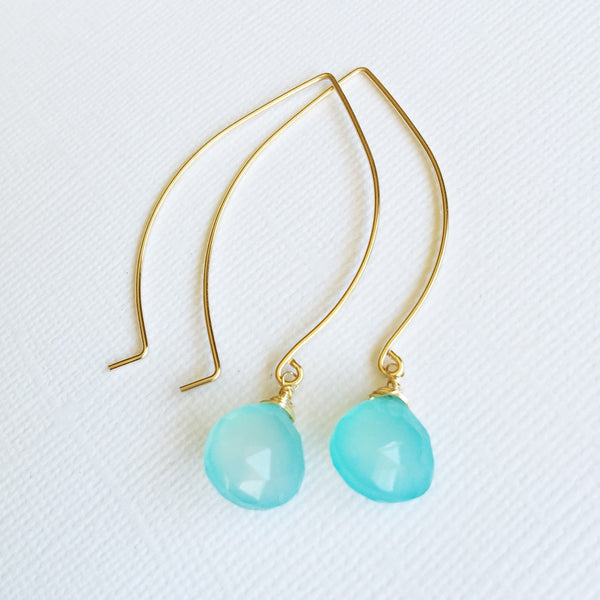 Earrings Kalena - aqua chalcedony (E203)