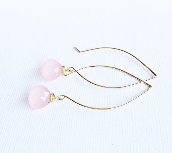 Earrings Kalena - Pink chalcedony  (E251)