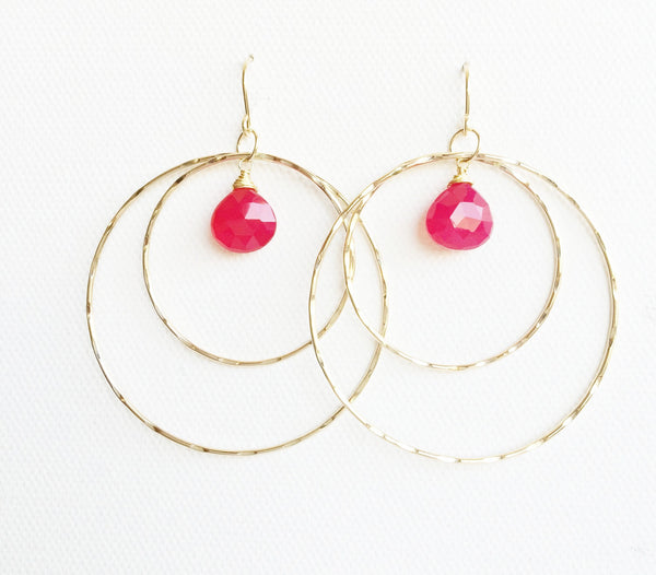 Earrings Rachel - raspberry chalcedony ( E253)