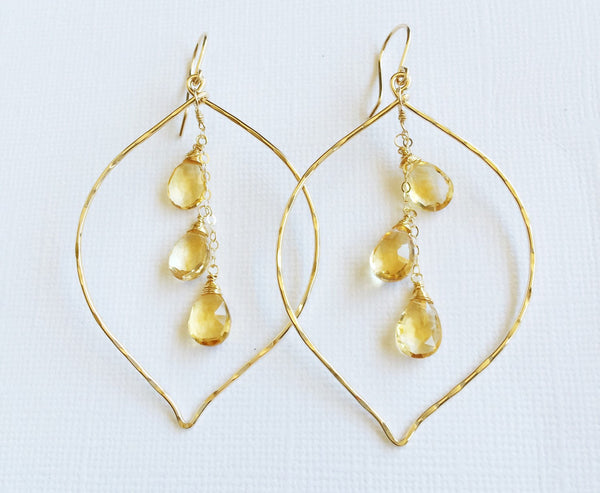 Earrings Yuri - citrine (E543)