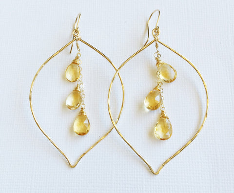 Earrings Yuri - citrine (E257)