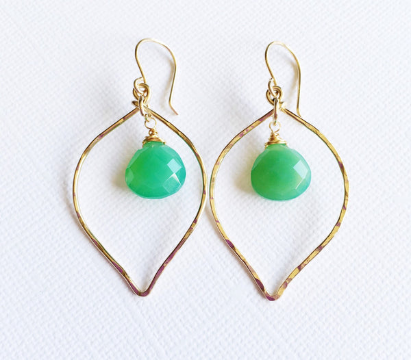 Earrings Doree - chrysoprase (N261)