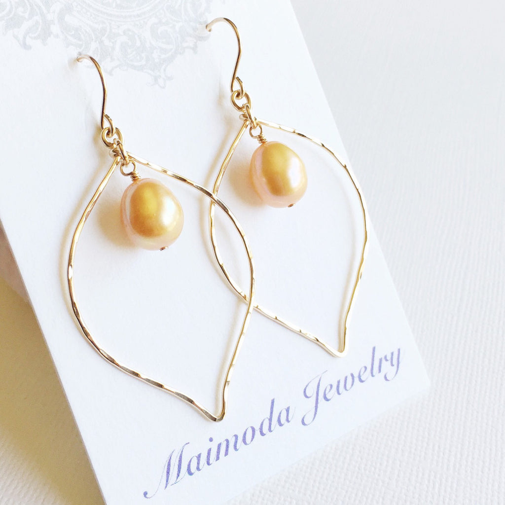 Earrings Doree - gold pearl (E135)