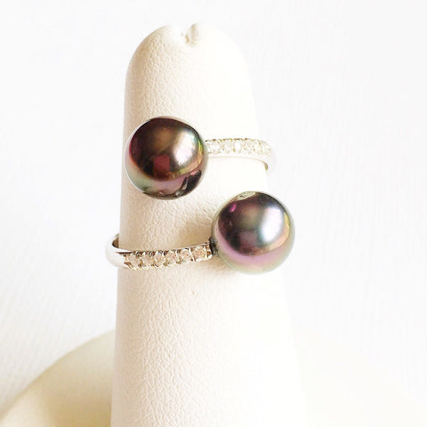 Ring Leia - Diamond pave tahitian pearls  (E148)