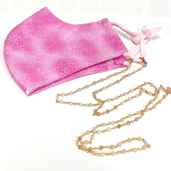 Pink opal mask/ eyeglass chain