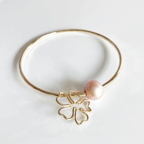 Cherry Blossom bangle- pink pearl (B354)