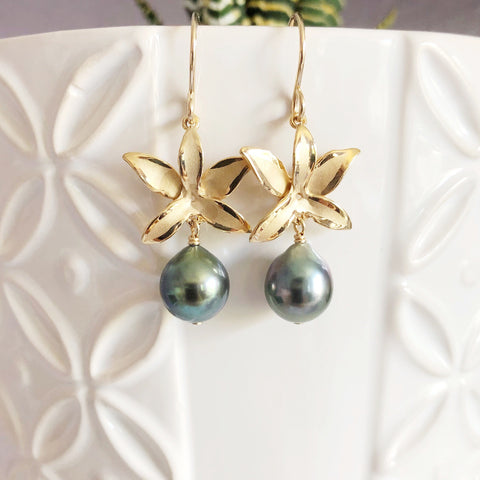 Orchid earrings - 5 petals with tahitian pearls (E514)