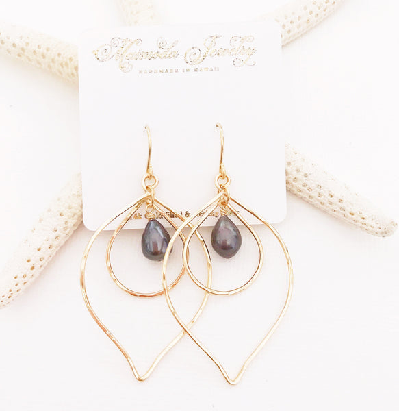 Earrings Kina - black  pearl (E337)