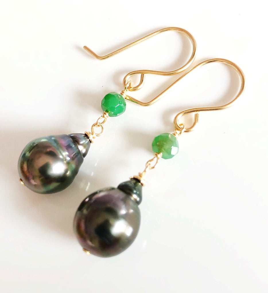 Tahitian pearl dangle - emerald (E490)
