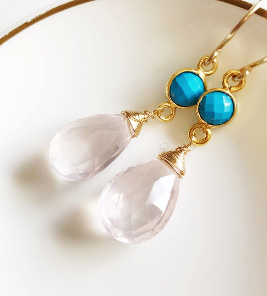 Rose quartz & turquoise earrings