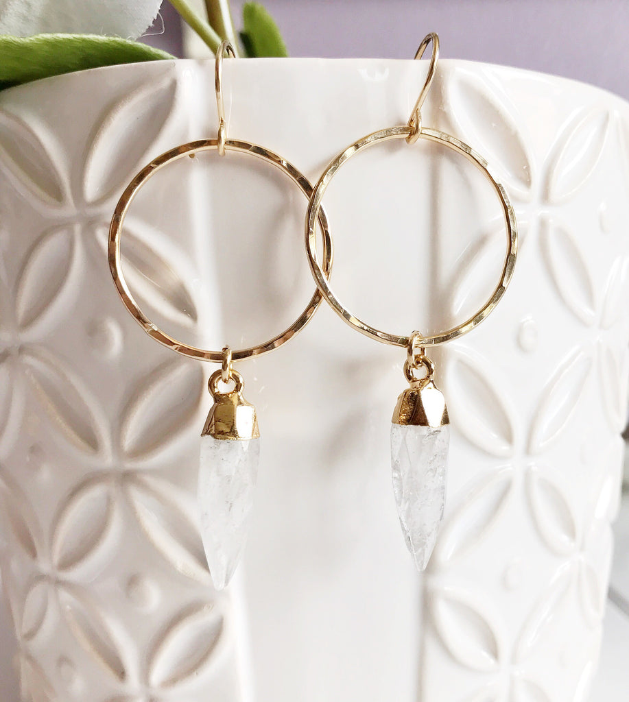 Earrings Zoe - crystal quartz (E365)