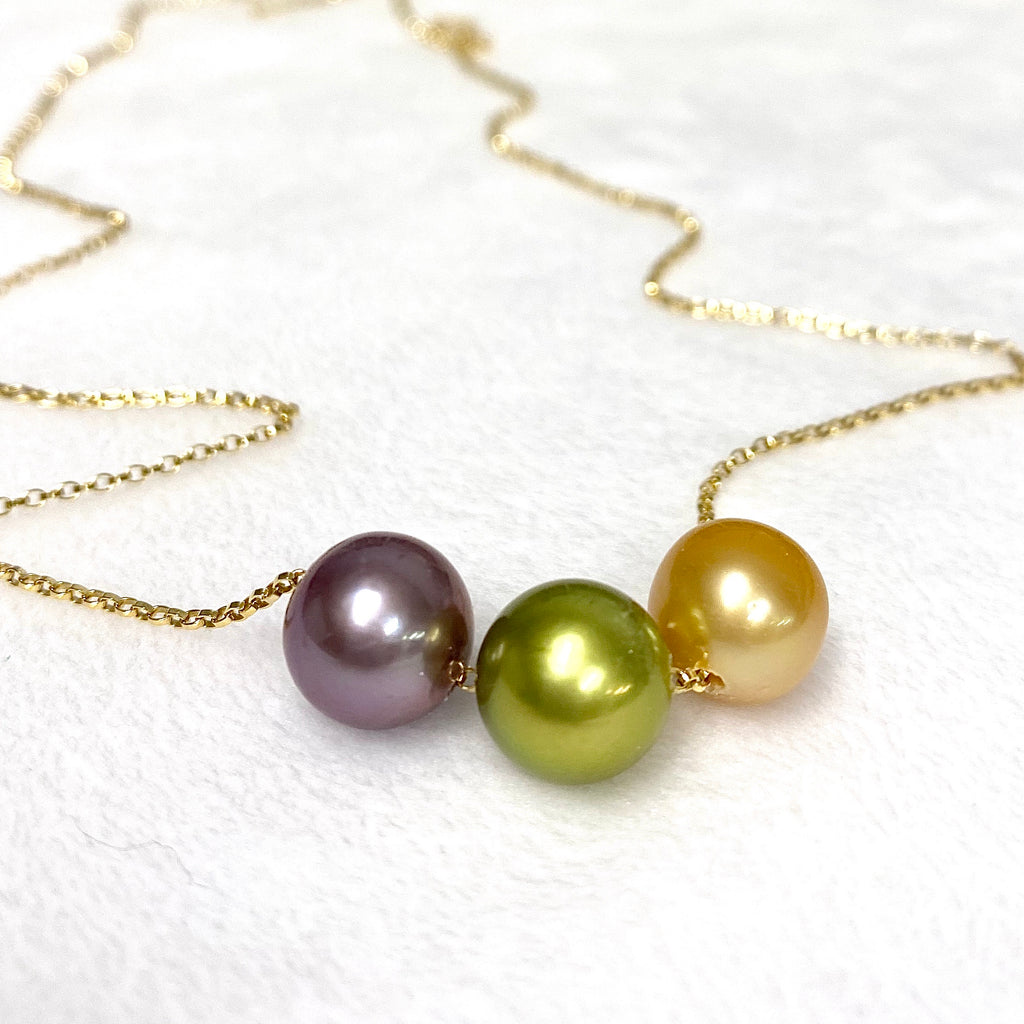 Necklace KRISTI - pistachio Tahitian, gold south sea & Edison pearl (N371)