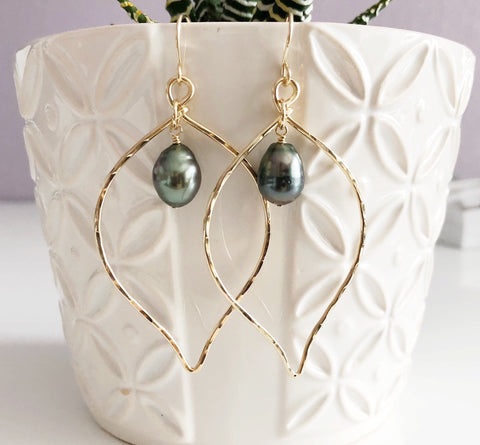 Earrings Riki - tahitian pearl (E118)