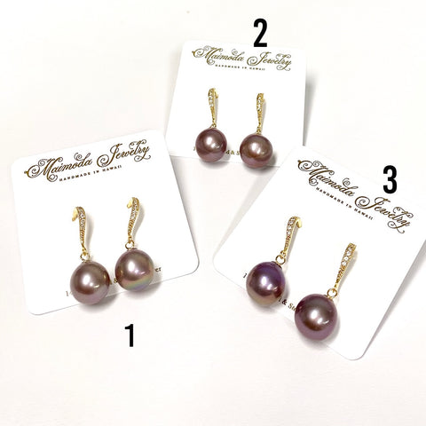 Earrings Irene - purple Edison pearl