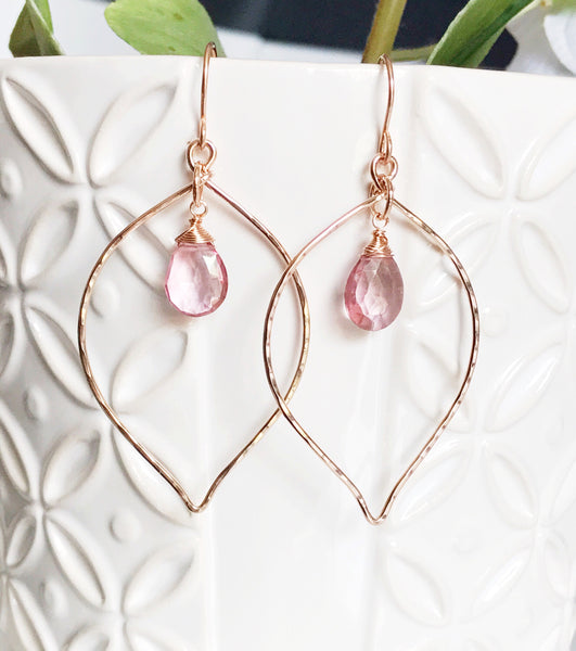 Earrings Doree - Pink quartz (E260)