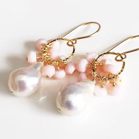 Earrings KIRA - pink opal (E556)