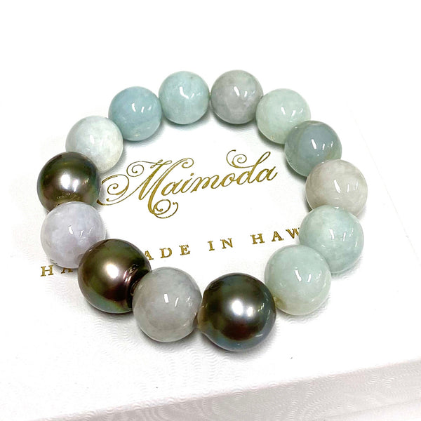 Jade and Tahitian pearls stretchy bracelet