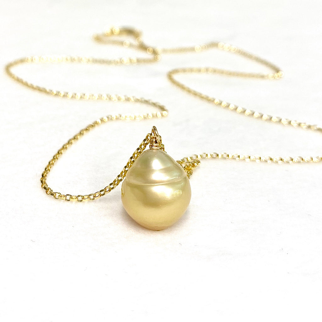 Baroque Gold south sea pearl necklace (N369)