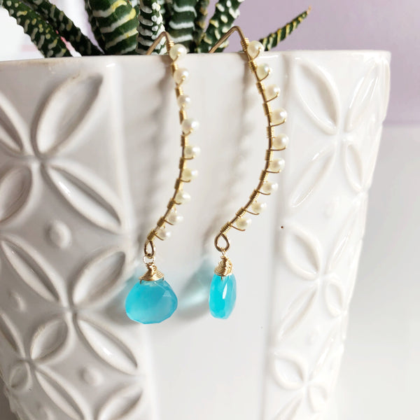 Earrings Ailani - aqua chalcedony (E190)