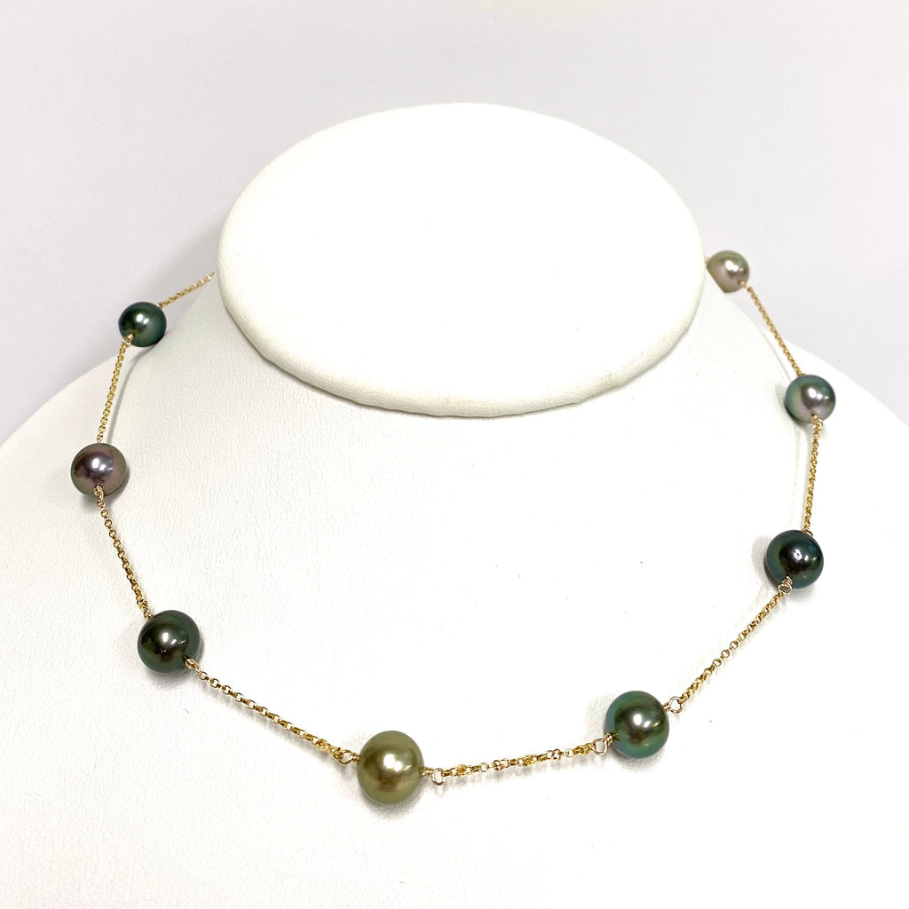 Necklace PUALANI - multicolor Tahitian pearls