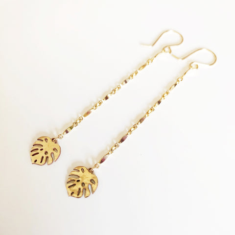 Monstera drop earrings (E493)