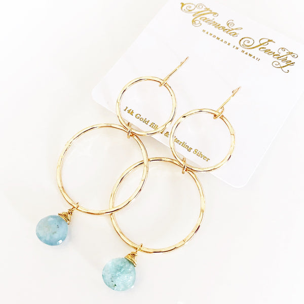 Earrings ANELA - aquamarine (E480)